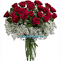 20 Lovely Valentine Red Roses with Gipsy Fillers