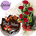 Five Star Cake with Fresh Dutch Red Roses Bunch