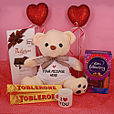 3 Types Chocolates With Teddy, Mini Cup And Hearts