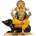 Metal Ganesh Ji Sitting On Mouse Statue