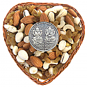 Heart Shaped Basket Full Of Dry Nuts With Silver Coin (10g)