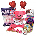 Valentine Package Of Teddy, Chocolates, Keyring, Mini Cup And Hearts
