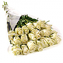 20 Long Stem White Roses Bouquet