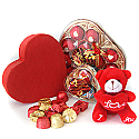 Heart Chocolates Box with Red Love Teddy for Valentine Day