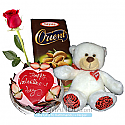 Valentine Hug with a Cake, Chocolate, Teddy and FREE Red Roses (Staff Pick)