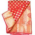 Banarasi Silk Golden Zari Floral Design Red Saree