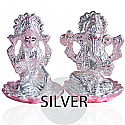 Silver Ganesh Ji and Laxmi Ji on Lotus Flower Statue Set in Gift Box