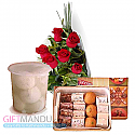 Sweets Assortment and Flower Bunch (Rasbari)