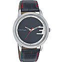 Titan Stainless Steel Case Black Dial Analog Watch for Men (1584SL02)