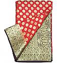 Banarasi Print Red Chiffon Saree - Golden Zari Paisley Design