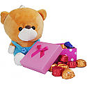 Cute Teddy And Chocolate Box - For Your Sister