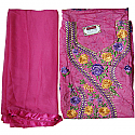 Chanduri Print Pink Embroidered Kurtha Piece Set