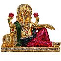 Metal Golden Ganesh Ji Sitting