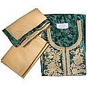 Green Cotton Embroidered Kurtha Piece Set With Georgette Shawl