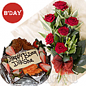 Five Star Hotel Black Forest Cake (1 lb) and Half Dozen Red Roses