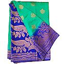 Banarasi Silk Green Saree - Two Tone Royal Blue Color Golden Zari Border