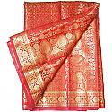 Banarasi Golden Zari Floral Design Red Saree