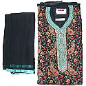 Semi-Stitched Embroidered Kurtha Piece - Black