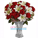 One Dozen Lovely Red Roses Blended With Lily Flowers Vase