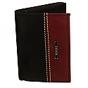 Woods Brown & Maroon Leather Tri-Fold Wallet (Genuine Leather)