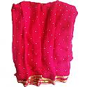 Indian Chiffon Rani Pink Saree Pencil Border With Stone Work