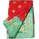 Banarasi Silk Red Saree - Two Tone Green Color Golden Zari Border
