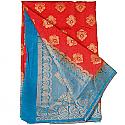 Banarasi Silk Red Saree - Two Tone Color Golden Zari Border