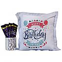 Cadbury Chocolates With 'Happy Birthday' Cushion and Mug