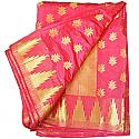 Banarasi Silk Golden Zari Lotus Flower Design Pink Saree