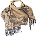 Wool Solid Floral Stemmed Print Women's Shawl Wrap