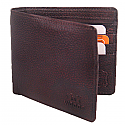 Wood Brown Leather Single-Fold Wallet (Genuine Leather)