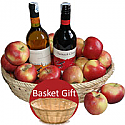 2 Spanish Sweet Wine Bottles in Apple Basket