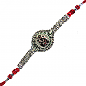 Shubh Ganesh Rakhi - Beautiful and Colorful With Stones Design (Comes in Plastic Box)