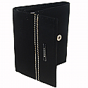 Woods Black Leather Tri-Fold Wallet (Genuine Leather)