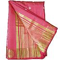Banarasi Print Embroidery Pink Saree - Golden Zari Floral Design