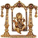 Metal Ganesh Ji On Beautiful Golden Jhula