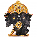 Metal Ganesh Ji Head With Stones On Mukut (Black)