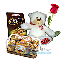 Two Chocolates and Teddy Bear with FREE Roses