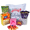Soft And Cuddly Printed Cushion With Snacks, Chocolates And Printed Mug