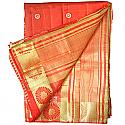 Banarasi Print Embroidery Orange Saree - Golden Zari Floral Design