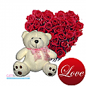 Heart Roses with Cute Teddy Bear