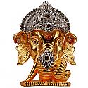 Metal Ganesh Ji Head With Stones On Mukut (Golden)