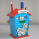 Pen Holder for Kids - Wooden Blue