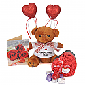 Valentine Package Of Teddy, Chocolates, Message Card with Hearts