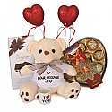 Valentine Package Of Teddy, Chocolates, Mini Cup And Hearts