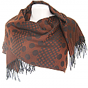 Wool Solid Black Dotted Print Women's Shawl Wrap (Brown)