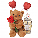 Valentine Gift Of Teddy, Chocolates, Mini Cup And Hearts