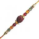 Rudraksha Rakhi - Decorated With Rudraksha, Stones & Pearls