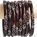 Rosewood Red Color Glass Bangles 4 pcs Set (Size 2-6)