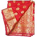Banarasi Silk Golden Zari Floral Design Red Saree (Lotus Border)